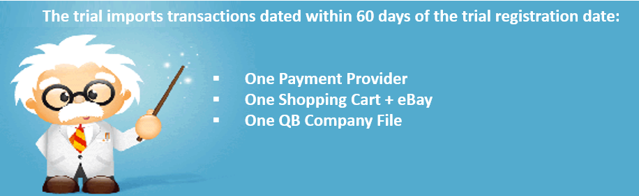 SimplePort trials are limited to 60 days of transactions, one payment provider, one shopping cart plus eBay and one QuickBooks company file